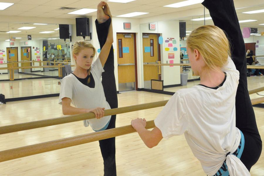 Freshman Addison Moffet warms up in Moveo practice. She recently had the opportunity to perform as a backup dancer on the television show 'X Factor.'
