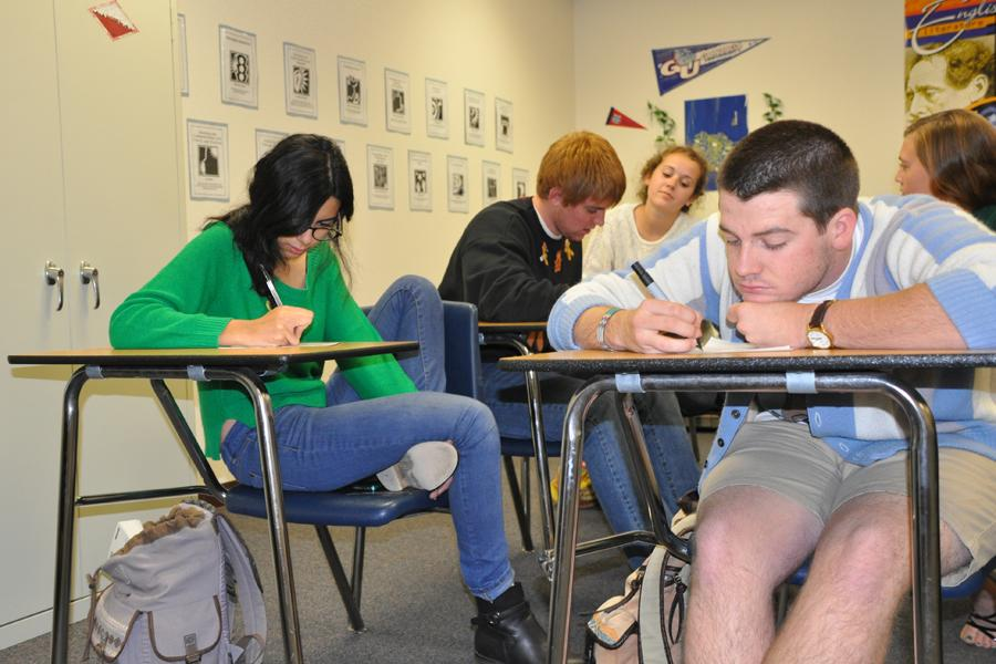 AP seniors study in class for the ACT exam and other standardized tests.
