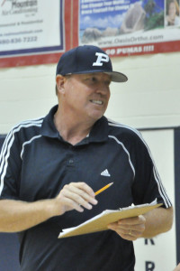 Head coach Fred Mann during a volleyball game in September.