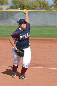 Senior pitcher Alyssa Barlow hurls a fastball.