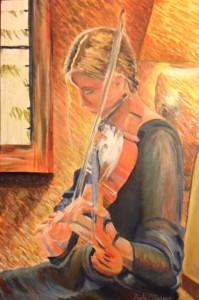 Art teacher Nicole McCaigue's painting of junior violinist Rachel Schoenberger.