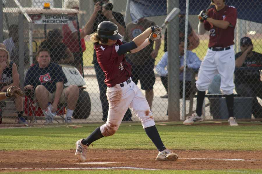 Junior infielder Jeremy McCuin slugs a pitch earlier this season. McCuin, along with teammates Austin Bull, Kyle Huckaby and Brock Heffron, is a switch hitter, meaning he can hit both from the right side of home plate (as pictured) or the left side.