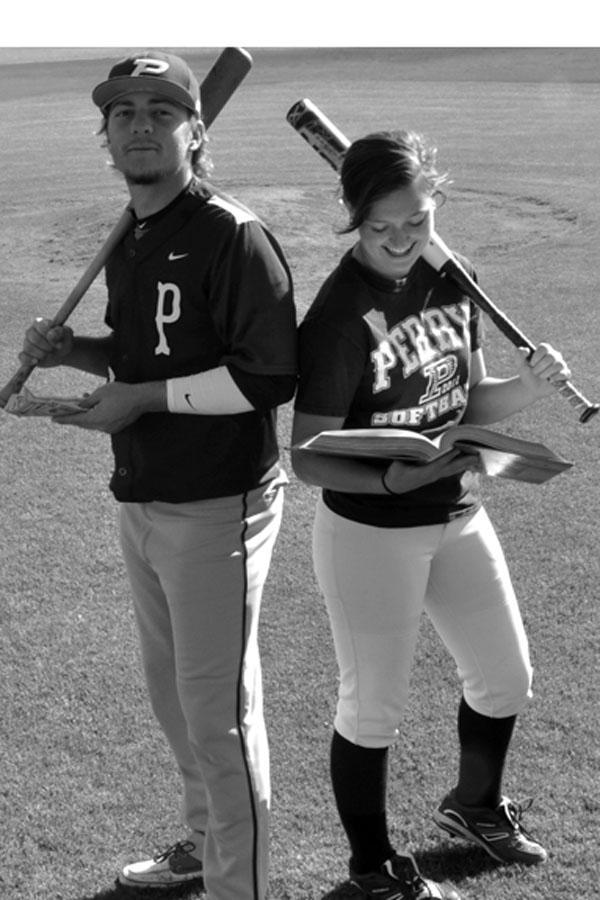 Students Ryne Edmondson and Emma Fernandez demonstrate the struggles of college athletes.