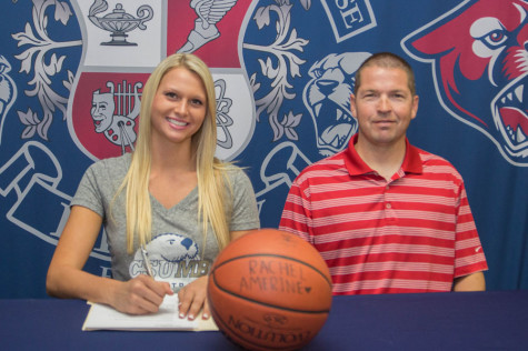 Senior Rachel Amerine signs her National Letter of Intent to play basketball at California State.
