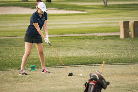 Sophomore Kati Golf starts her windup for a drive