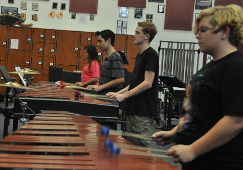 Members of the marching band rehearse last week.