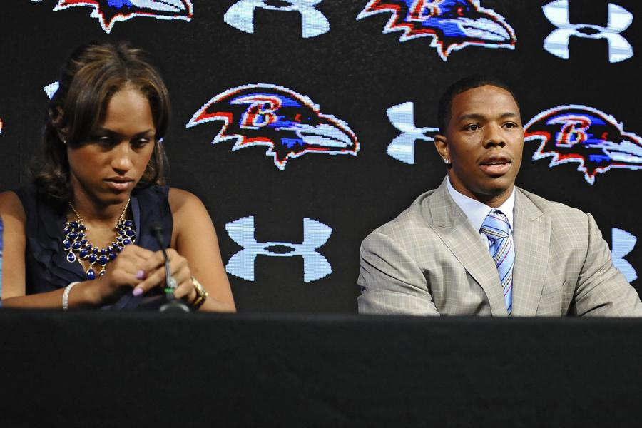 Former Ravens running back Ray Rice, right, and his wife Janay made statements to the news media May 5, 2014, at the Under Armour Performance Center in Owings Mills, Md, regarding his assault charge for knocking her unconscious in a New Jersey casino. On Monday, Sept. 8, 2014, Rice was let go from the Baltimore Ravens after a video surfaced from TMZ showing the incident.