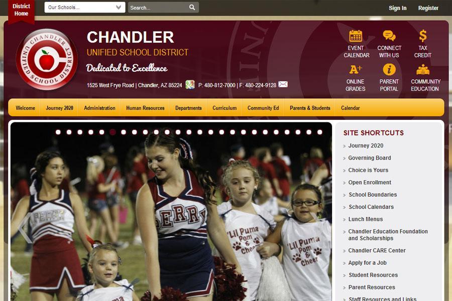 Screenshot of the updated district website