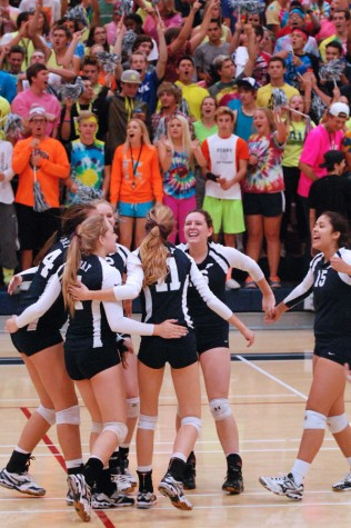 The Pumas celebrate after a score against Basha in the playoffs.