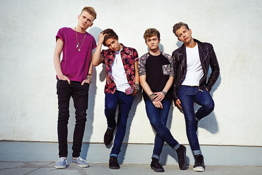 Brad Simpson, Tristan Evans, Connor Ball, and James McVey from the UK rock-pop band, The Vamps. Photo used with permission from gomoxie.org.