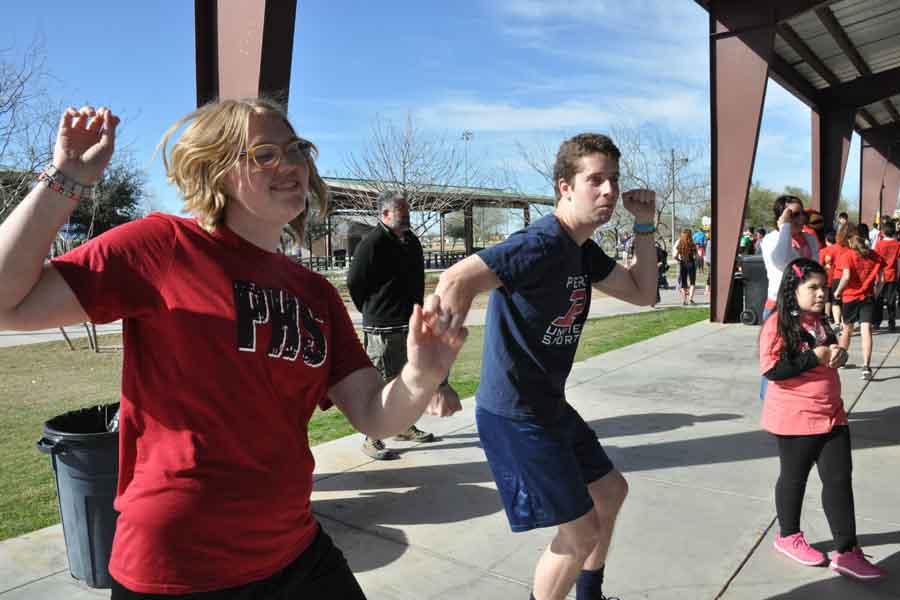 Students dance at the Fun Run.