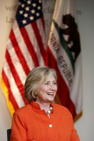 Home care providers and consumers meet in Los Angeles with former Secretary of State and Democratic presidential candidate Hillary Clinton on Thursday, Aug. 6, 2015, at Los Angeles Trade Technical College. (Barbara Davidson/Los Angeles Times/TNS)