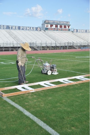 The yard lines and numbers on the field were painted on Aug. 20.