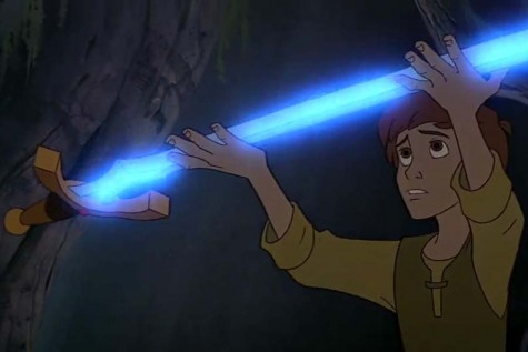 Taran (voiced by Grant Bardsley) holds his light sword aloft as a trade for the sinister Black Cauldron (Disney).