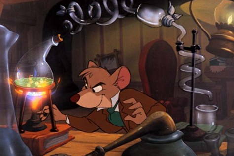 Basil of Baker Street (voiced by Barrie Ingham) experiments on a clue left behind by Ratigan's henchman (Disney).