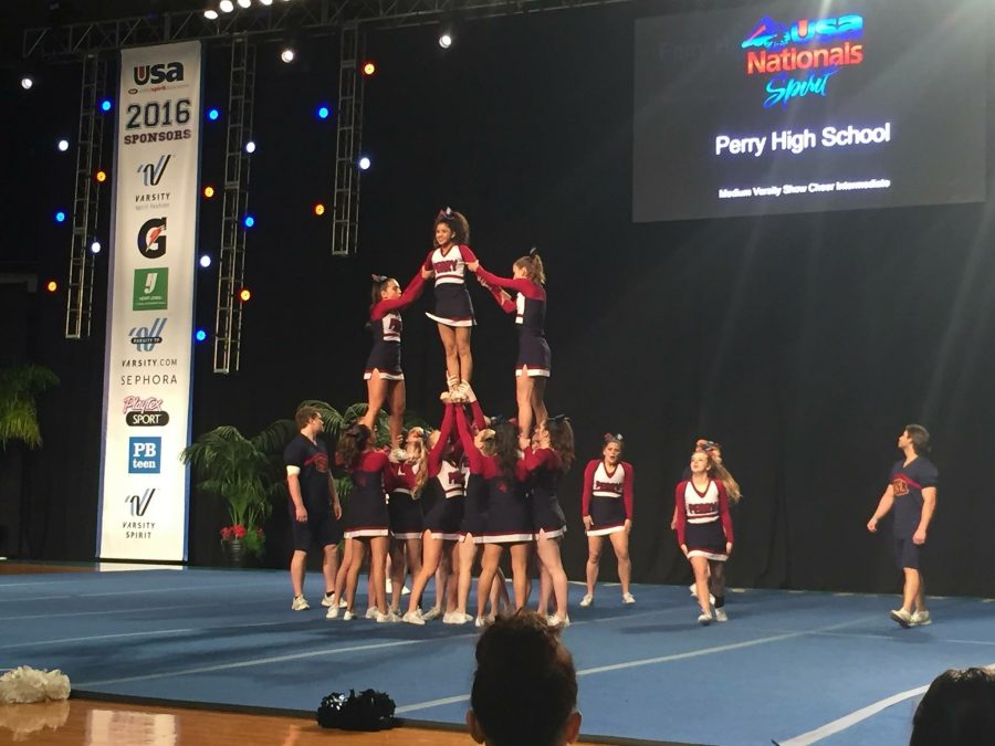The Puma Cheer and Pom team performing their routine during nationals at Disneyland Resort in Anaheim, CA.