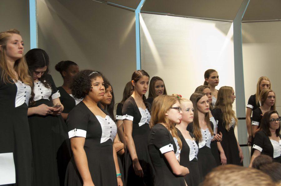Advanced Women's Choir practices for their winter concert.
