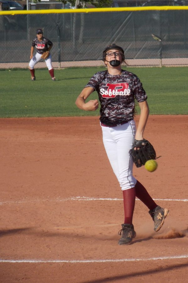 Freshmen Sage Stutz throws a pitch against Mountain Pointe. The Pumas beat the Lions 10-0.