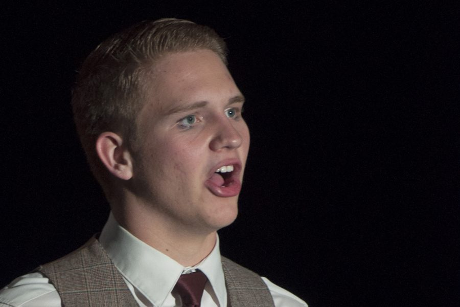Senior Steven Ricks performs as Reverend Moore in Perry's production of Footloose . Ricks will be performing with the National Theatre Company.