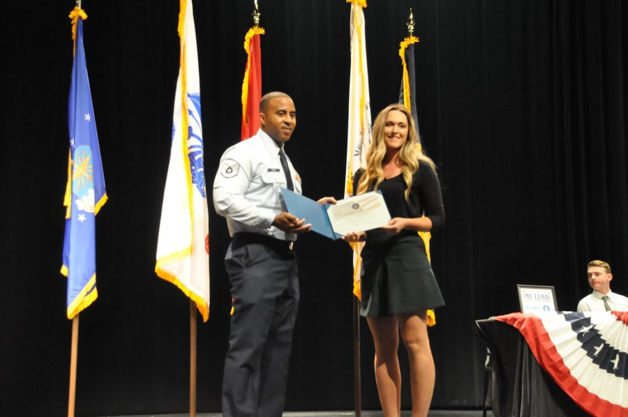 Taylor McLeod is being recognized for enlisting in the Military