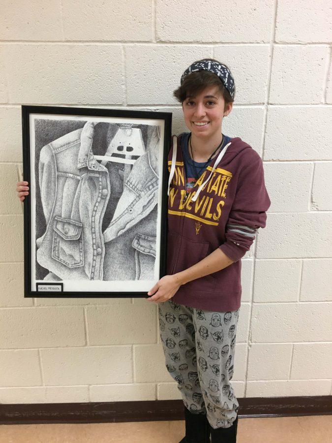 Rachel+Mesquita+holding+her+WinterFest+art+piece.+