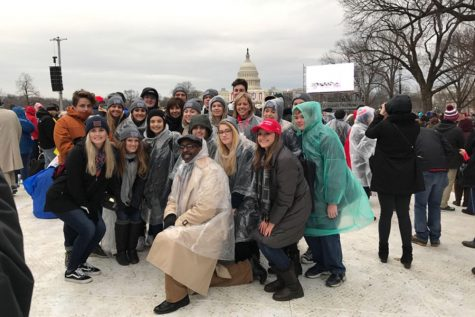 Students get ready to go watch the inauguration.