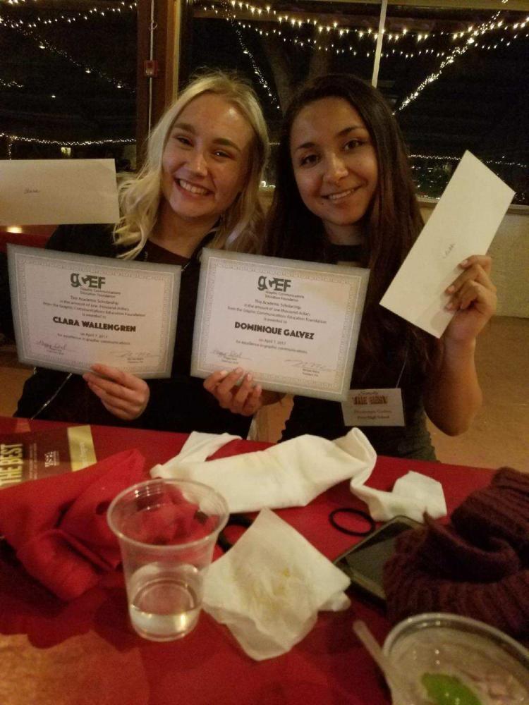 Seniors Nikki Galvez and Clara Wallengren receiving their award.
