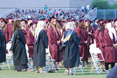 Female graduates preparing to walk. The 2017 graduating class is the last to hold graduation at Perry.