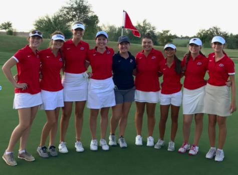 The varsity girls golf team, including the developmental players