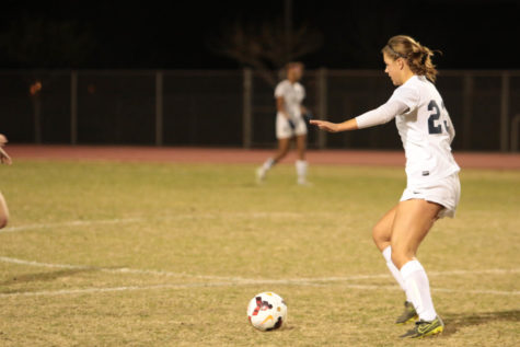 Defender Emma Richey (12) moves in for a goal against Campo Verde in a successful 6-0 game.