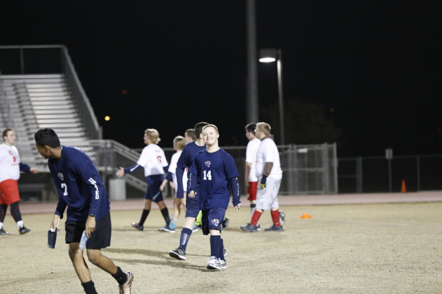 The+unified+soccer+team+takes+the+field+in+preparation+for+their+game+