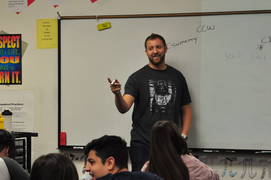 Mr Rygiel calls on a student in his geometry class.