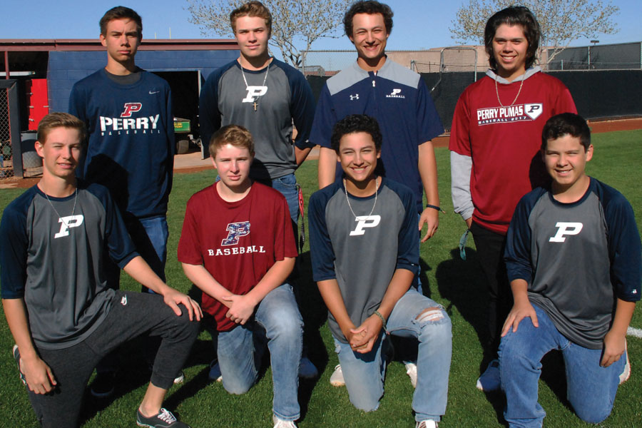 From left to right, top row: Wyatt Crenshaw, Kasin Alexander, CJ Valdez and Sam Gonzales. Bottom row: Dustin Crenshaw, Brock Alexander, Tyler Valadez and Chris Gonzales.