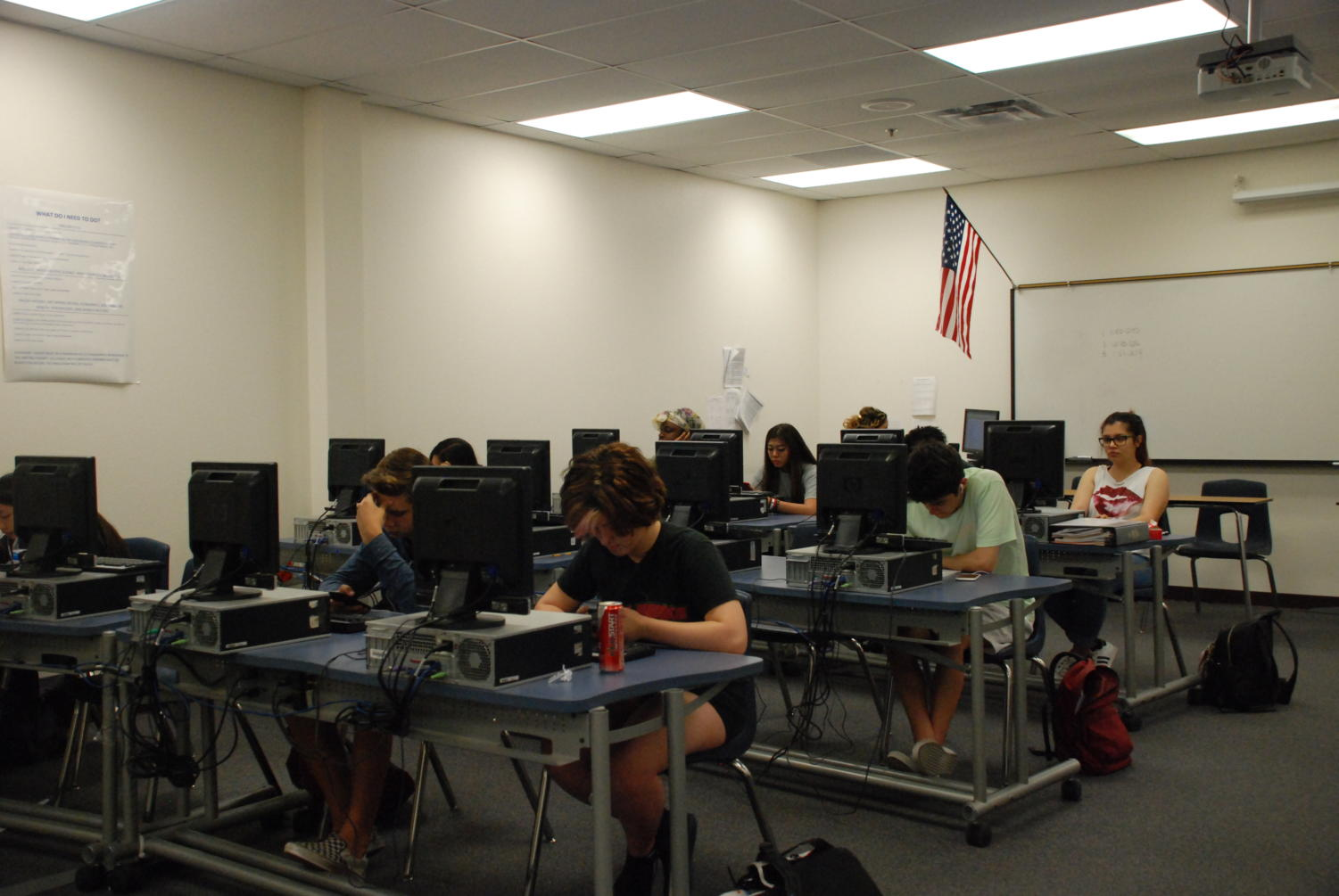Students work diligently to complete their classes.