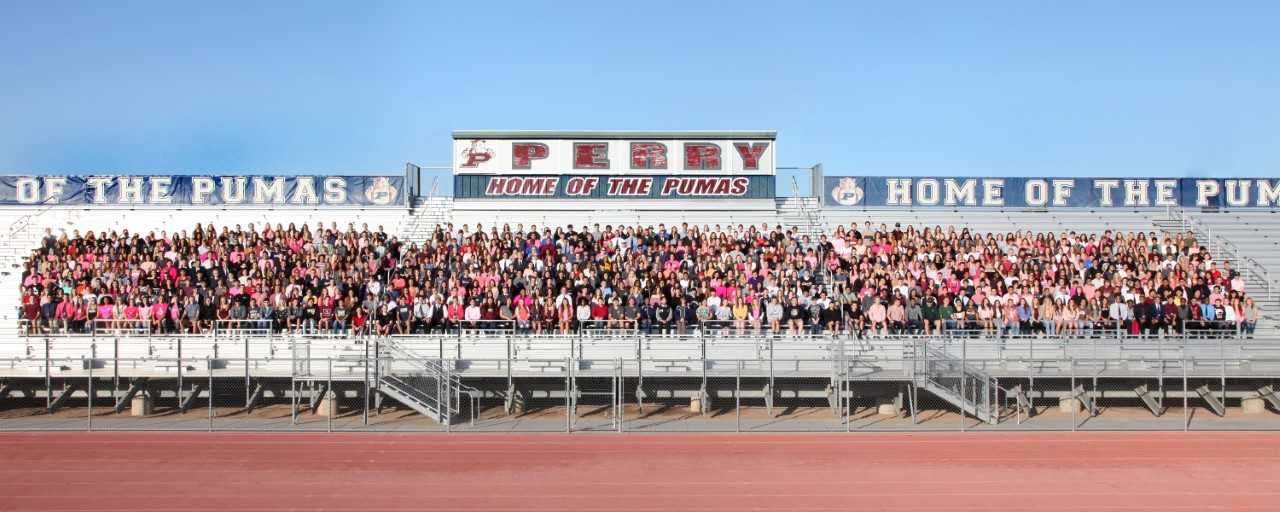 The Class of 2018 seniors pose for the traditional panorama photo.