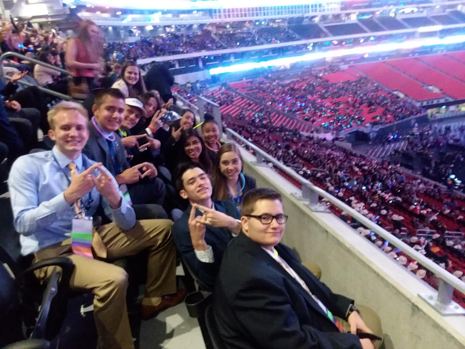 DECA students sit ad wait for the final resultes at the International DECA Competition.