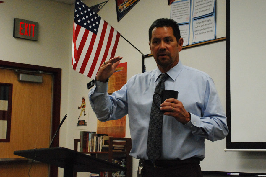Principal Dan Serrano talks to the newspaper class during his monthly press conference.