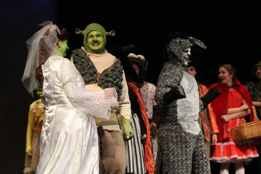 Characters+Fionna+and+Shrek+%28played+by+Victoria+Vredevoogd+and+Matthew+Pitman%29+confess+their+love+for+each+other+in+%22Shrek%3A+The+Musical.%22