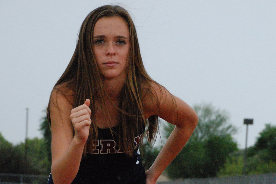 Kylie Miller poses on the track