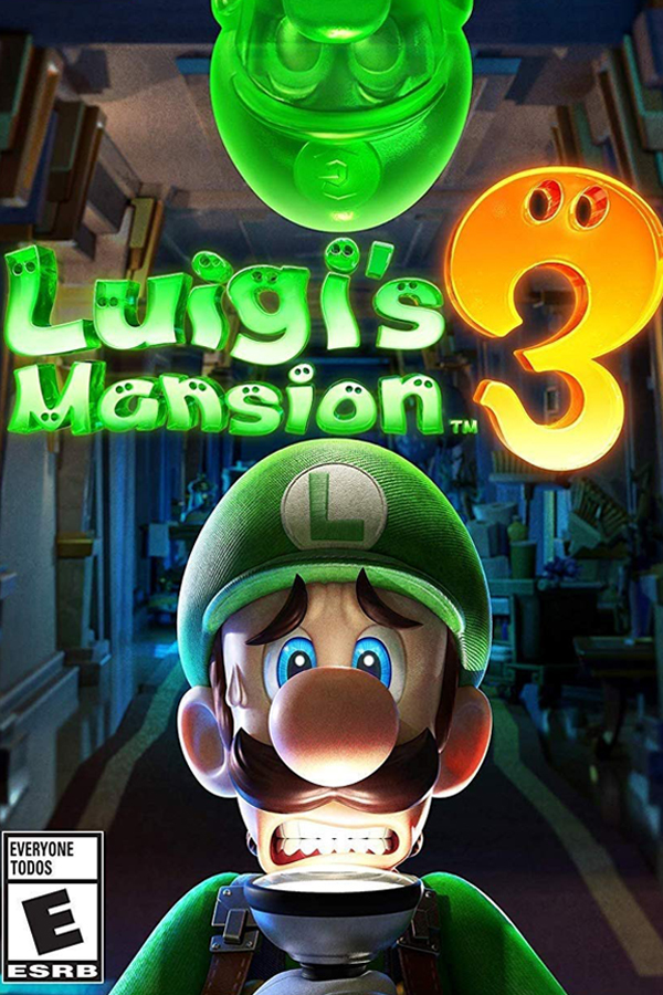 Cover art from the newly released Nintendo game, Luigi's Mansion 3. This is a puzzle, action, and adventure game that tests your ghost capturing abilities.
