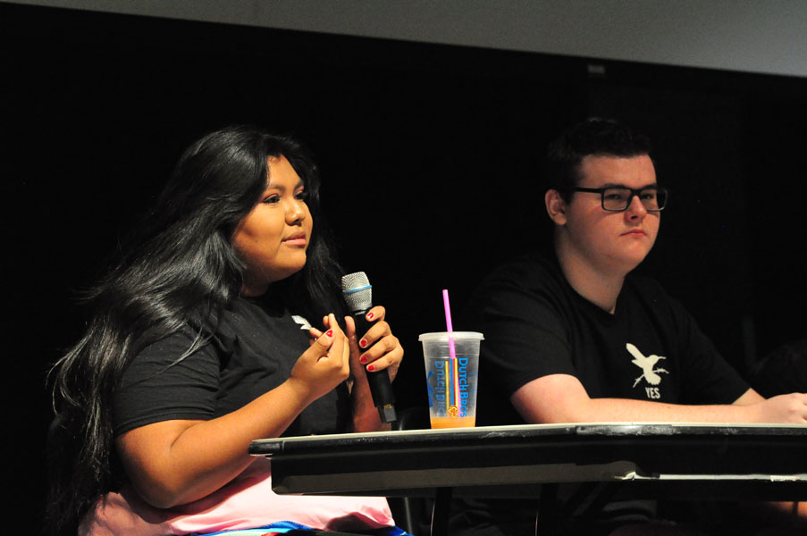 Senior Sareya Taylor speaks on the student panel sponsored by the YES program for Perry faculty members at the October staff meeting. It was an opportunity for teachers to ask questions about equity in the classroom and get students'  responses.