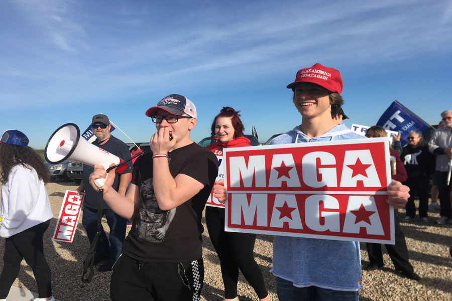 Students stand across from campus in 2019 to protest what they thought was administration disciplining teens for wearing MAGA clothing. However, no student was disciplined for wearing any clothes, a CUSD and state attorney general investigation later found.