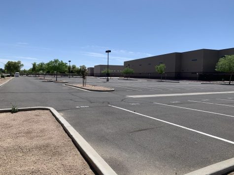 One of the empty Perry parking lots, a common sight after the school shut downs across Arizona.