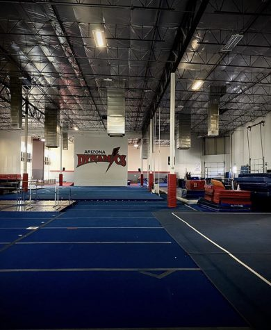 Inside Arizona Dynamics Gymnastics with no athletes or coaches.