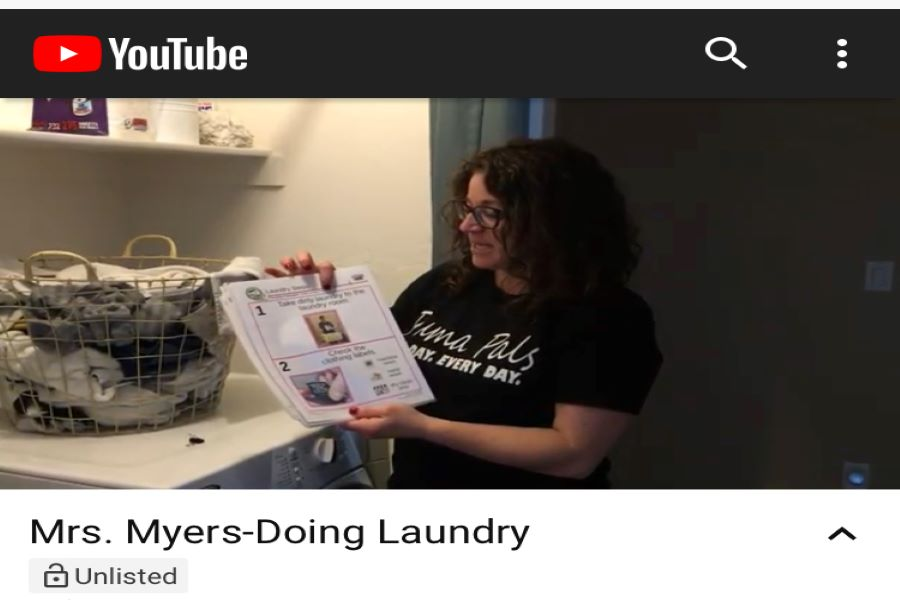 Self contained teacher Alexis Myers created a YouTube video for her students demonstrating methods to do laundry. The video was apart of the Unique Learning Systems curriculum.