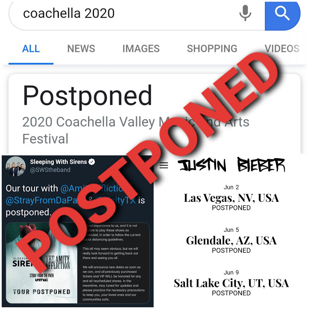 Photos screenshot from a Google search of coachella 2020, Sleeping with Sirenss (@SWStheband) Twitter, and justinbiebermusic.com