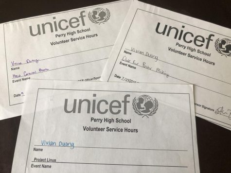 UNICEF volunteer hour slips are used to keep track of service hours for club members.