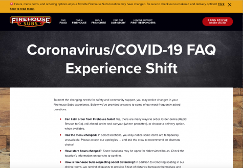A screenshot from Firehouse Subs' website with a message regarding COVID-19.