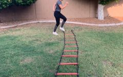 Junior Autumn Kunze practices for her upcoming softball season.