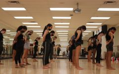 Pom members starting off camp last month. The girls spent 7 hours at camp working to perfect skills and routines.